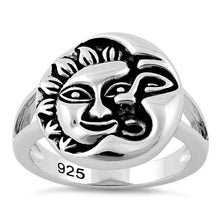 Load image into Gallery viewer, Sterling Silver Sun and Moon Ring