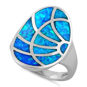 Sterling Silver Sunrise Lab Opal Ring
