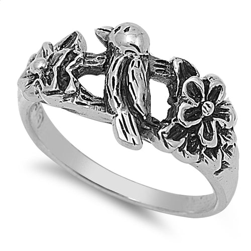 Sterling Silver Sweet Bird & Blossom on a Branch Ring