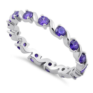 Sterling Silver Swirl Amethyst Eternity CZ Ring