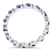 Load image into Gallery viewer, Sterling Silver Swirl Amethyst Eternity CZ Ring