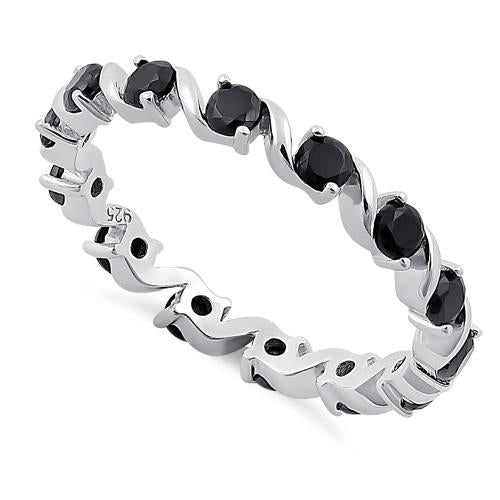 Sterling Silver Swirl Black Eternity CZ Ring