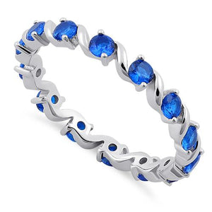 Sterling Silver Swirl Blue Spinel Eternity CZ Ring
