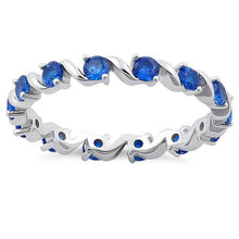 Load image into Gallery viewer, Sterling Silver Swirl Blue Spinel Eternity CZ Ring