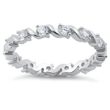 Load image into Gallery viewer, Sterling Silver Swirl Clear Eternity CZ Ring