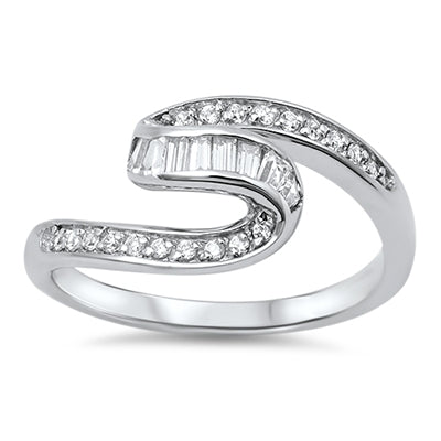 Sterling Silver Swirl CZ Ring