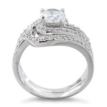 Load image into Gallery viewer, Sterling Silver Swirl CZ Wedding Set Ring
