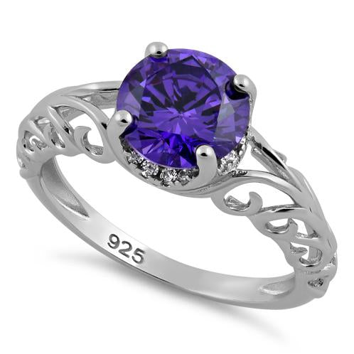 Sterling Silver Swirl Design Amethyst and Clear CZ Ring