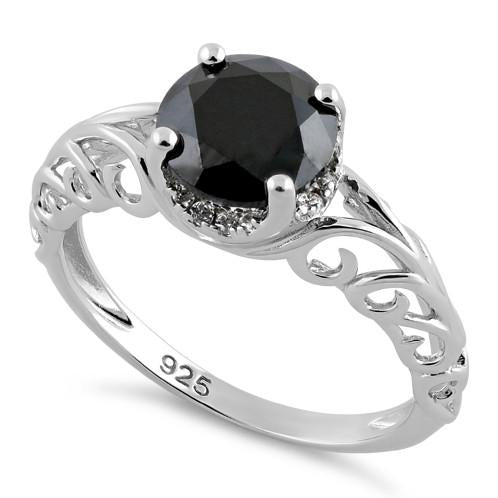Sterling Silver Swirl Design Black and Clear CZ Ring