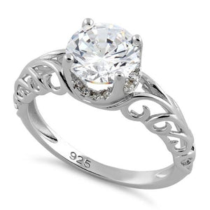 Sterling Silver Swirl Design Clear CZ Ring