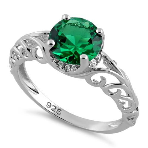 Sterling Silver Swirl Design Emerald and Clear CZ Ring