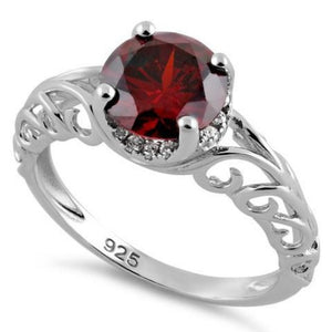 Sterling Silver Swirl Design Garnet and Clear CZ Ring