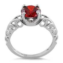 Load image into Gallery viewer, Sterling Silver Swirl Design Garnet and Clear CZ Ring