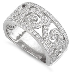 Sterling Silver Swirl Design Pave CZ Ring