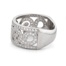 Load image into Gallery viewer, Sterling Silver Swirl Design Pave CZ Ring