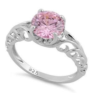Sterling Silver Swirl Design Pink and Clear CZ Ring