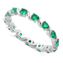 Load image into Gallery viewer, Sterling Silver Swirl Emerald  Eternity CZ Ring
