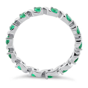 Sterling Silver Swirl Emerald  Eternity CZ Ring