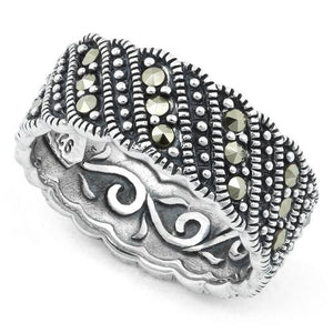 Sterling Silver Swirl Eternity Marcasite Ring