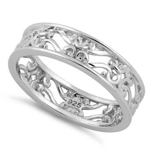 Load image into Gallery viewer, Sterling Silver Swirl Floral Band Ring