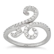 Load image into Gallery viewer, Sterling Silver Swirl Pave CZ Ring