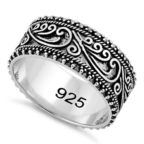 Sterling Silver Swirls Beads Band Ring