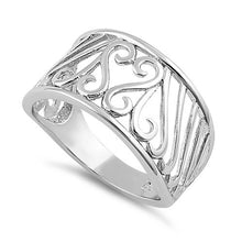 Load image into Gallery viewer, Sterling Silver Swirly Heart Ring