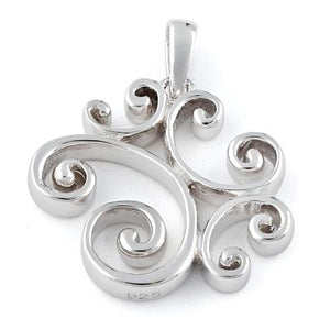 Sterling Silver Swirly Hearts Pendant