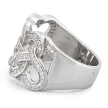 Load image into Gallery viewer, Sterling Silver Tangled Hearts Pave CZ Ring