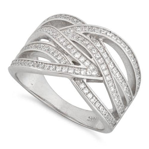 Sterling Silver Tangled Pave CZ Ring