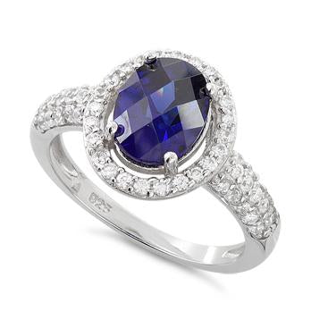 Sterling Silver Tanzanite Oval Halo CZ Ring
