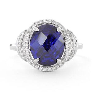 Sterling Silver Dark Blue Spinel Oval Halo CZ  Ring