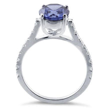 Load image into Gallery viewer, Sterling Silver Tanzanite Round Cut Engagement CZ Ring