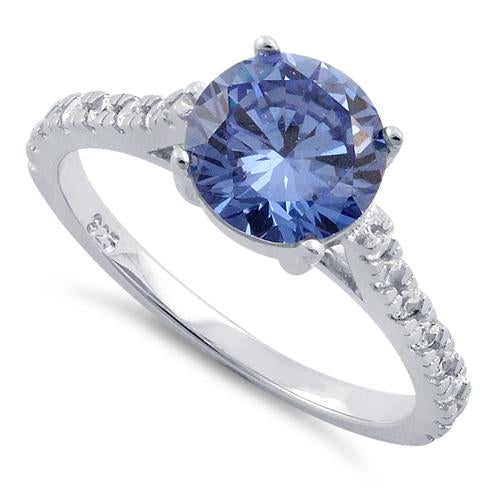 Sterling Silver Tanzanite Round Cut Engagement CZ Ring