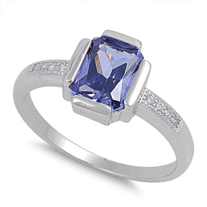 Sterling Silver Tanzanite Rectangular CZ Ring