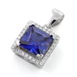 Sterling Silver Tanzanite Square CZ Pendant