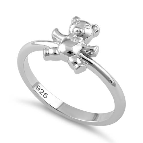 Sterling Silver Teddy Bear with Tie Ring