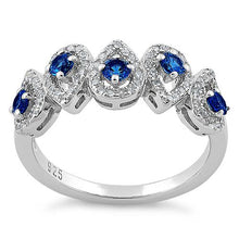 Load image into Gallery viewer, Sterling Silver Tear Drops Blue Spinel CZ Ring