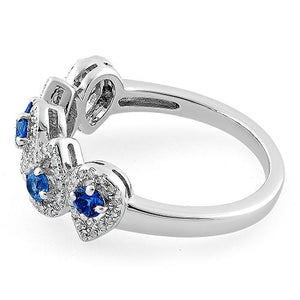 Sterling Silver Tear Drops Blue Spinel CZ Ring