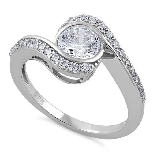 Sterling Silver The Eye Clear CZ Ring