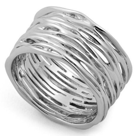 Sterling Silver Thick Woven Basket Ring