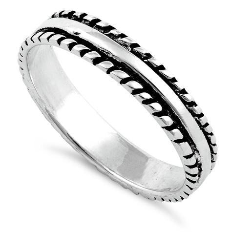 Sterling Silver Thin Double Rope Ring