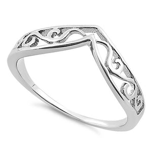 Sterling Silver Thin Filigree V Shape Ring