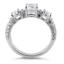 Load image into Gallery viewer, Sterling Silver Three Round Clear CZ Ring