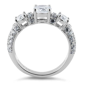 Sterling Silver Three Round Clear CZ Ring