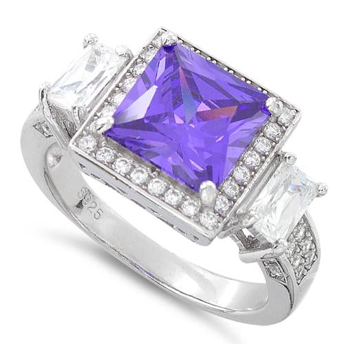 Sterling Silver Three Stone Amethyst Square CZ Ring