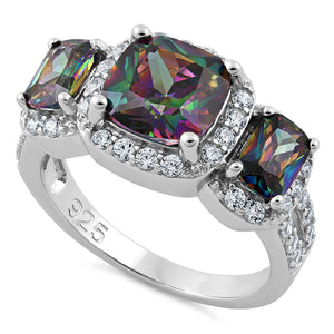 Sterling Silver Three Stone Halo Rainbow CZ Ring