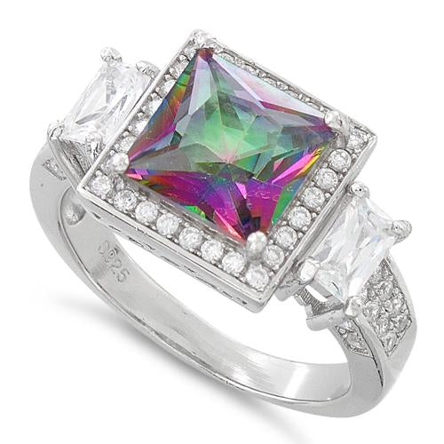 Sterling Silver Three Stone Rainbow Topaz Square CZ Ring