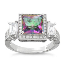 Load image into Gallery viewer, Sterling Silver Three Stone Rainbow Topaz Square CZ Ring