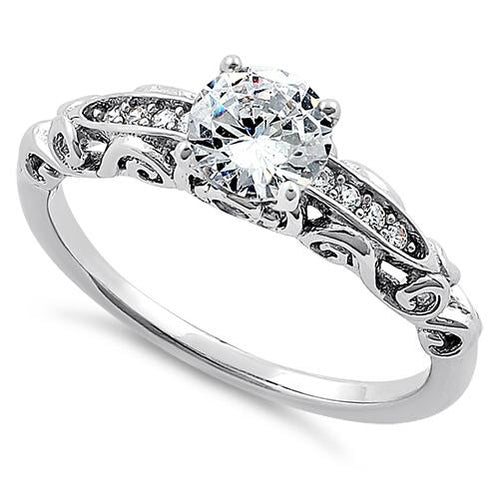 Sterling Silver Timeless Round Cut Clear CZ Engagement Ring